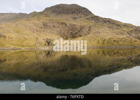 Grib Goch reflected in the mirror-like water of Llyn Llydaw, Snowdonia.