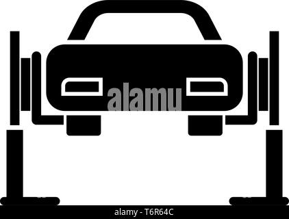 Car lift Car repair Service concept Car on fix lift Car lifted on auto lift icon black color vector illustration flat style simple image - Stock Photo