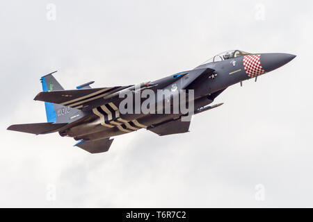 Mcdonald Douglas F-15C Eagle in special heritage colours. Aircraft is from the 492th Tactical Fighter Squadron, 48th FW at RAF Lakenheath, England. - Stock Photo