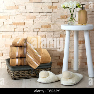 FOUR PIECE BEAUTIFUL COTTON TOWEL SET WITH PROBES - Stock Photo