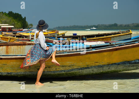 Tourist on the beach nr 1 at Havelock Island, Andaman and Nicobar Islands, India - Stock Photo