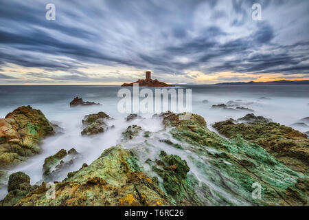 France Cote Azur - Cap Du Dramont, where you can see the Ile d'Or is the most picturesque promontory of the Corniche of Esterel, one of the most beautiful streets in the world located in the south of France. - Stock Photo
