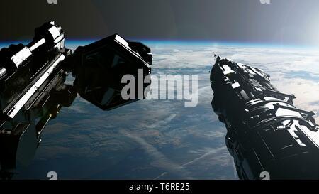 International Space Station Orbiting Earth - Stock Photo