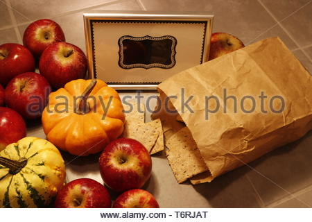 High angle view of autumn harvest produce - Stock Photo