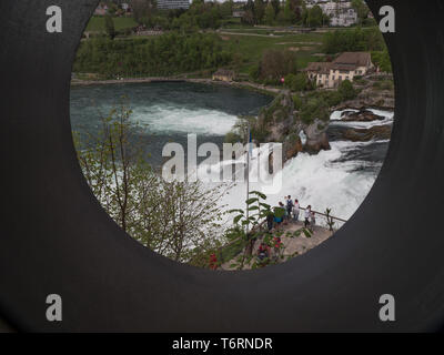 Rhine Falls in Switzerland early spring time - Stock Photo