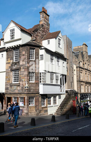 John Knox House on the High Street in Edinburgh Old Town, Scotland, UK - Stock Photo