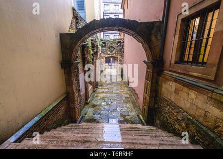 Original historical building of University of Oviedo in Oviedo city, Asturias region of Spain - Stock Photo