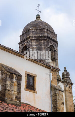Church of Santa Maria de Sabada tower in Llastres village in Colunga municipality, within autonomous community of Asturias, in northern Spain - Stock Photo