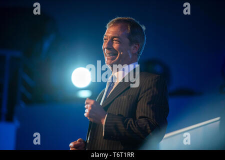 Brexit Party EU elections campaign launch at  The Neon in Newport, South Wales. Brexit Party Leader Nigel Farage speaking to delegates. - Stock Photo