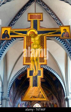 Crucifix,  by Giotto, circa 1288-1289, Basilica di Santa Maria Novella, Church of Santa Maria Novella, Florence, Tuscany, Italy, Europe - Stock Photo