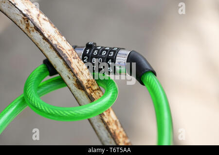 Bicycle combination lock close-up - Stock Photo
