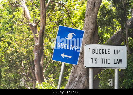 Hurricane evacuation shelter blue sign on road and seat belt buckle up it's the law text with arrow direction in Naples, Florida during day - Stock Photo