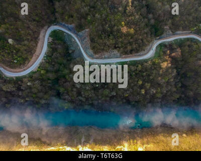 Aerial view of river Drina in Bosnia and Herzegovina - Stock Photo