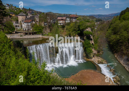 Waterfall in Jajce city, Bosnia and Herzegovina, Europe - Stock Photo