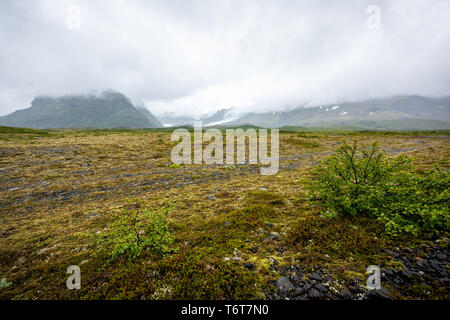Iceland landscape view of mountains on cloudy weather day on south southern ring road with plants and meadow - Stock Photo