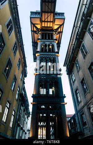 Santa Justa lift in Lisbon, Portugal - the famous touristic spot - Stock Photo