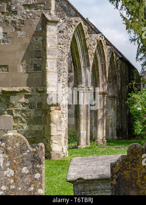 Ruins of St Mary's Old Church, Market Place, Wilton, nr Salisbury, Wiltshire, UK. - Stock Photo