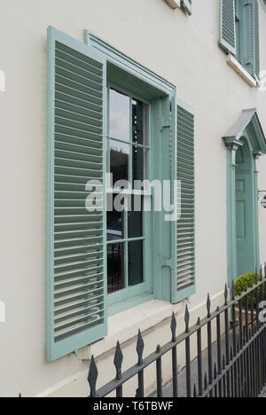 Shuttered house frontage in West Street, Wilton, Salisbury, Wiltshire, UK. - Stock Photo