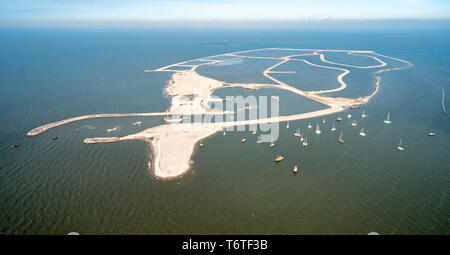 First Dutch artificial island for nature: Marker Wadden from the sky - Stock Photo