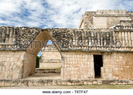 Triangular Door and Columnade Puuc Design Detail, Quadrangle of the Birds, Uxmal Maya Ruins, Yucatan Peninsula, Mexico 2007 NR - Stock Photo