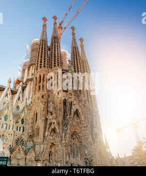 Barcelona, Spain, April 2019: The Nativity facade of the famous Sagrada Familia church in Barcelona designed by architect Antoni Gaudí