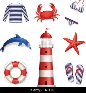 Set of colored sea and beach icons. Collection of design elements. Vector illustration. - Stock Photo