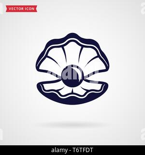 Pearl in the shell. Icon isolated on white background. Sea theme or jewelry concept. Vector symbol. - Stock Photo