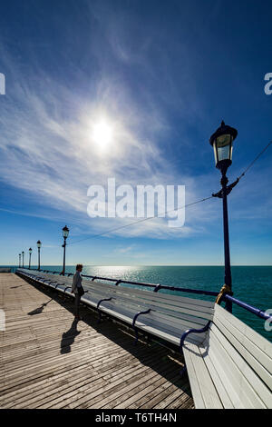 Woman on a pier, - Stock Photo