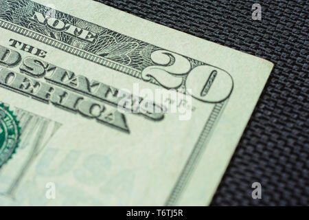Closure of US money is twenty dollar bills, US twenty dollar bill fragment of macro. 2019 - Stock Photo