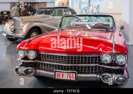 1959 Cadillac Series 62 / Series Sixty-Two American convertible classic car at Autoworld, vintage automobile museum in Brussels, Belgium - Stock Photo