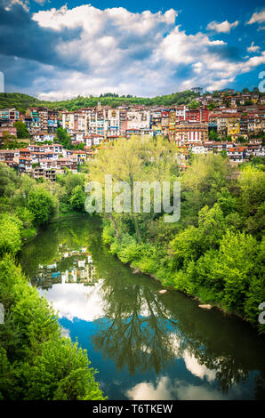 Veliko Tarnovo town, Bulgaria. The old city is located in north central of Bulgaria - Stock Photo