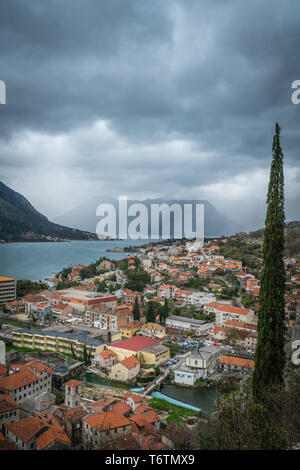 Homes and houses in Kotor town - Stock Photo