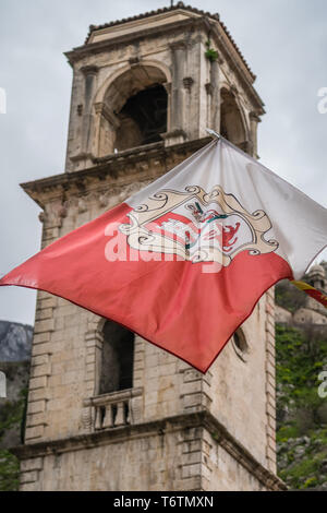 Flag of Kotor fluttering in the wind - Stock Photo