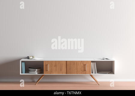 TV cabinet in modern living room with blank wall background. 3d illustration