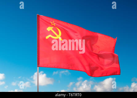 Berlin, Germany - May 01, 2019: The Ussr flag,  State Flag of the Union of Soviet Socialist Republics - Stock Photo