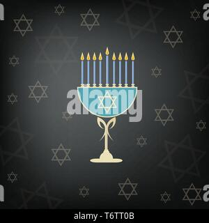 vector of the jewish holiday of hanukkah with the golden menorah and the traditional candelabra and burning candles on a black background with the sta - Stock Photo