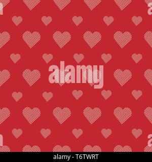 Vector seamless pattern with cute hearts pink in white strip on red background for printing and textiles - Stock Photo