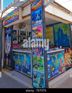 Travel agency, Beach Road, Thawewong Road, Patong, Phuket island, Thailand - Stock Photo