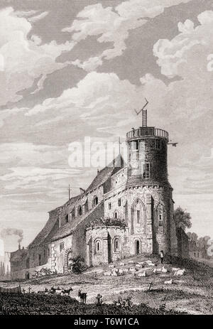 The Basilica of the Sacred Heart of Paris, Montmartre, Paris, antique steel engraved print, 1831 - Stock Photo