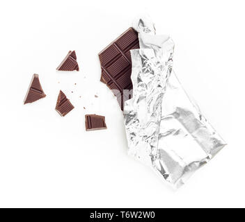 Chocolate Bar Tablet Wrapped in Aluminum Foil - Stock Photo