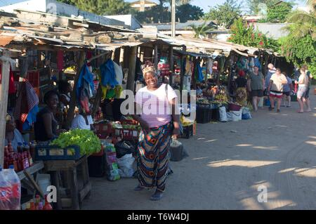 Market in Ponta do Ouro, Mozambique - Stock Photo