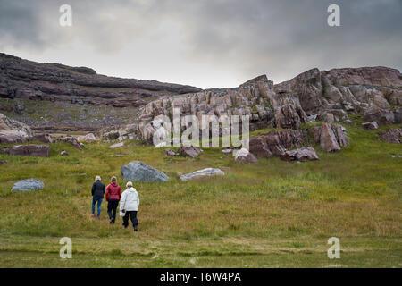 Tourists at Igaliku ancient Norse ruins at Gardar, South Greenland