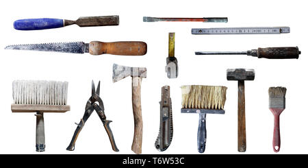 old used 13 different home tools isolated on white background - Stock Photo