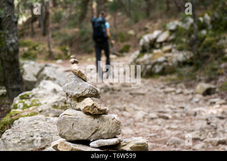 On the GR 221. The long distance path over the Serra de Tramuntana, also called dry stone route, in West-Mallorca, Spain - Stock Photo