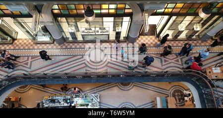 Top-view look inside Queen Victoria Building is a heritage-listed late-nineteenth-century building designed by the architect George McRae - Stock Photo