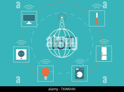 Internet of Things (IoT) concept with simple icons - Stock Photo