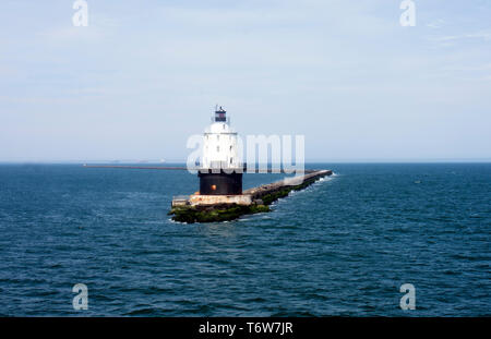 Passing by Harbor of Refuge Lighthouse in Delaware Bay - Lewes to Cape May ferry -04 - Stock Photo