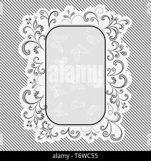 Background with Outline Floral Pattern and Frame with Contour Butterfly, Black, White and Grey - Stock Photo