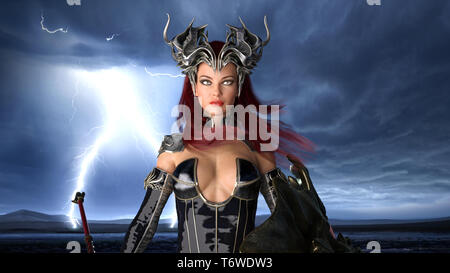 Ancient warrior queen, female fantasy fighter in battle armor with crown, portrait, 3D rendering Stock Photo