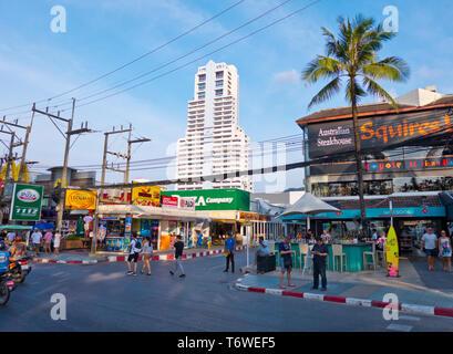 Beach Road, Thawewong Road, Patong, Phuket island, Thailand - Stock Photo